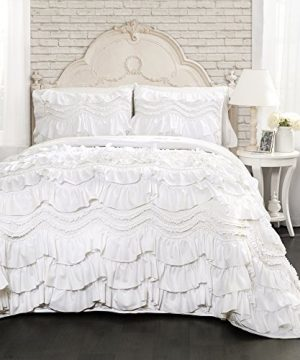 Lush Decor Kemmy Quilt Ruffled Textured 3 Piece King Size Bedding Set White 0 300x360