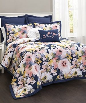 Lush Decor Lush Dcor Floral Watercolor 7 Piece Comforter Set FullQueen 0 0 300x360