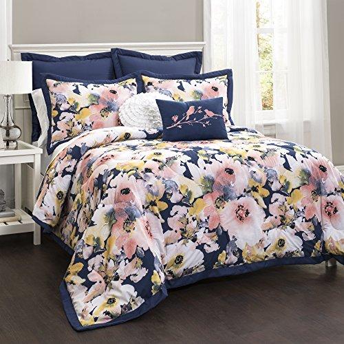 Lush Decor Lush Dcor Floral Watercolor 7 Piece Comforter Set FullQueen 0 0