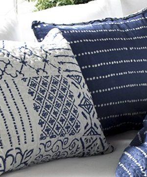 Lush Decor Monique 3 Piece Reversible Print Pattern Blue Quilt Set King 0 1 300x360