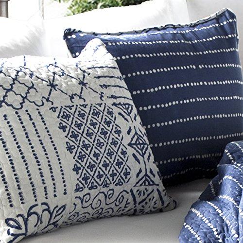 Lush Decor Monique 3 Piece Reversible Print Pattern Blue Quilt Set King 0 1