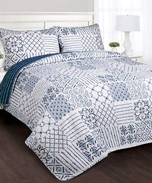 Lush Decor Monique 3 Piece Reversible Print Pattern Blue Quilt Set King 0 300x360