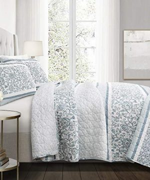 Lush Decor Nisha 3 Piece Quilt Set FullQueen Blue 0 300x360