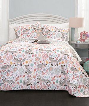 Lush Decor Pixie Fox Quilt Reversible 3 Piece Bedding Set GrayPink Twin Quilt Set 0 300x360