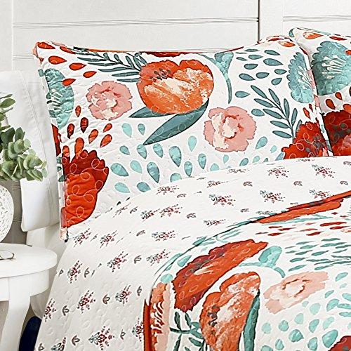 Lush Decor Poppy Garden 3 Piece Quilt Set King Multicolor 0 2
