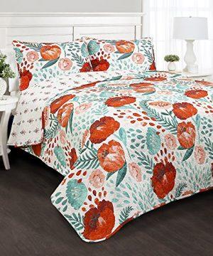 Lush Decor Poppy Garden 3 Piece Quilt Set King Multicolor 0 300x360