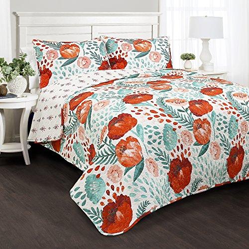 Lush Decor Poppy Garden 3 Piece Quilt Set King Multicolor 0