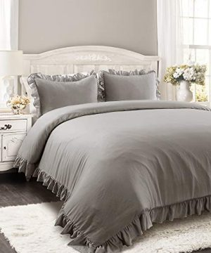 Lush Decor Reyna Comforter Ruffled 3 Piece Bedding Set With Pillow Shams Full Queen Gray 0 300x360
