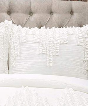 Lush Decor Ruffle Stripe Textured Ruched Shabby Chic Farmhouse 3 Piece Bedding Full Queen White 3Piece Comforter Set 0 0 300x360