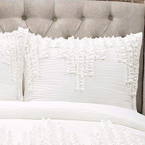 Lush Decor Ruffle Stripe Textured Ruched Shabby Chic Farmhouse 3 Piece Bedding Full Queen White 3Piece Comforter Set 0 0