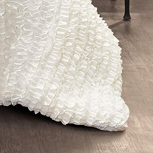 Lush Decor Ruffle Stripe Textured Ruched Shabby Chic Farmhouse 3 Piece Bedding Full Queen White 3Piece Comforter Set 0 1