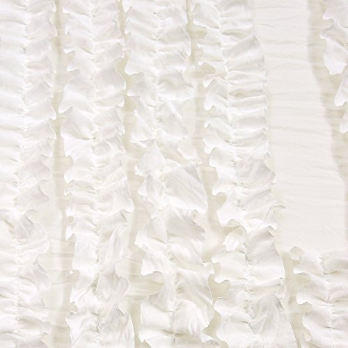 Lush Decor Ruffle Stripe Textured Ruched Shabby Chic Farmhouse 3 Piece Bedding Full Queen White 3Piece Comforter Set 0 2