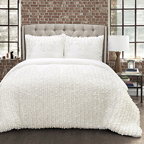 Lush Decor Ruffle Stripe Textured Ruched Shabby Chic Farmhouse 3 Piece Bedding Full Queen White 3Piece Comforter Set 0