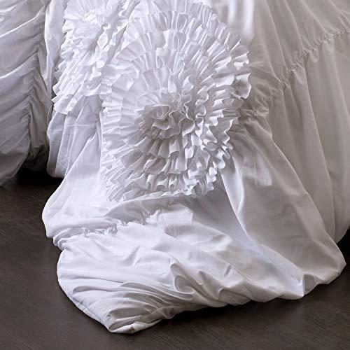 Lush Decor Serena Comforter Ruched Flower 3 Piece Set King White 0 0
