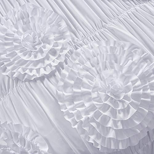 Lush Decor Serena Comforter Ruched Flower 3 Piece Set King White 0 1