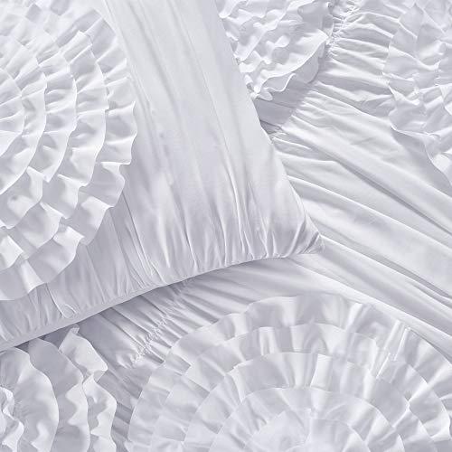Lush Decor Serena Comforter Ruched Flower 3 Piece Set King White 0 2