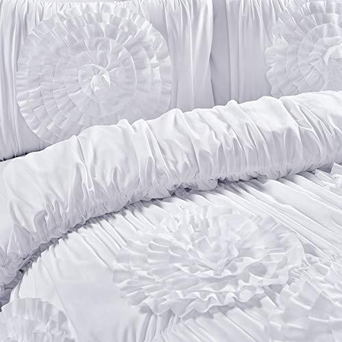 Lush Decor Serena Comforter Ruched Flower 3 Piece Set King White 0 3