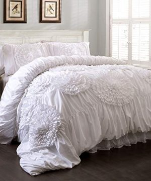 Lush Decor Serena Comforter Ruched Flower 3 Piece Set King White 0 300x360
