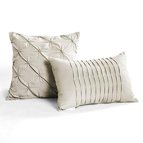 Lush Decor Wheat Ravello Shabby Chic Style Pintuck 5 Piece Comforter Set With Pillow Shams King 0 2