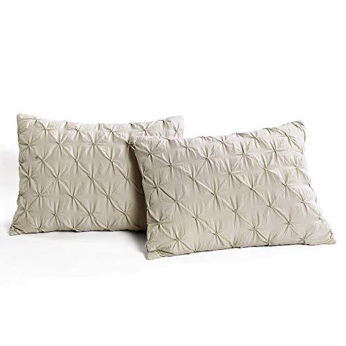 Lush Decor Wheat Ravello Shabby Chic Style Pintuck 5 Piece Comforter Set With Pillow Shams King 0 3