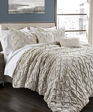 Lush Decor Wheat Ravello Shabby Chic Style Pintuck 5 Piece Comforter Set With Pillow Shams King 0 300x360