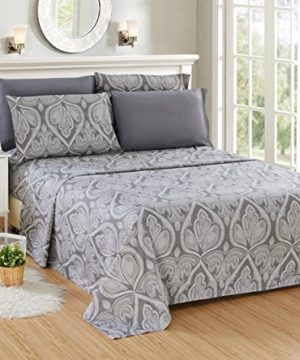 Lux Decor Collection Bed Sheet Set Brushed Microfiber 1800 Bedding Wrinkle Stain And Fade Resistant Hypoallergenic 6 Piece Queen Paisley Grey 0 0 300x360