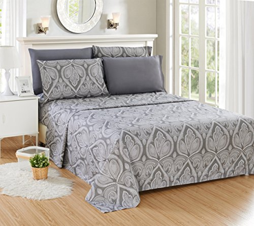 Lux Decor Collection Bed Sheet Set Brushed Microfiber 1800 Bedding Wrinkle Stain And Fade Resistant Hypoallergenic 6 Piece Queen Paisley Grey 0 0