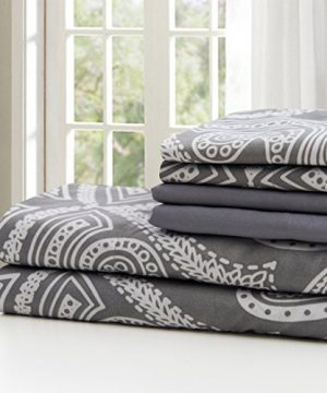 Lux Decor Collection Bed Sheet Set Brushed Microfiber 1800 Bedding Wrinkle Stain And Fade Resistant Hypoallergenic 6 Piece Queen Paisley Grey 0 1 300x360