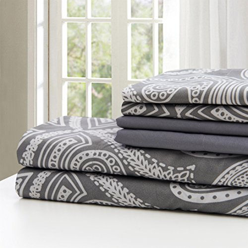 Lux Decor Collection Bed Sheet Set Brushed Microfiber 1800 Bedding Wrinkle Stain And Fade Resistant Hypoallergenic 6 Piece Queen Paisley Grey 0 1