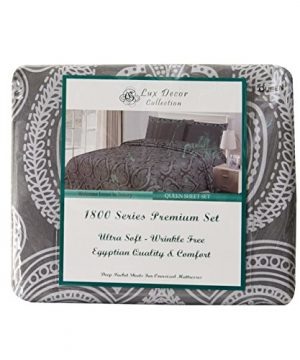 Lux Decor Collection Bed Sheet Set Brushed Microfiber 1800 Bedding Wrinkle Stain And Fade Resistant Hypoallergenic 6 Piece Queen Paisley Grey 0 2 300x360