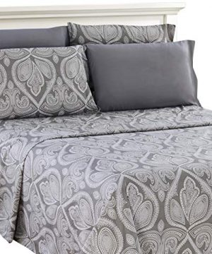 Lux Decor Collection Bed Sheet Set Brushed Microfiber 1800 Bedding Wrinkle Stain And Fade Resistant Hypoallergenic 6 Piece Queen Paisley Grey 0 300x360