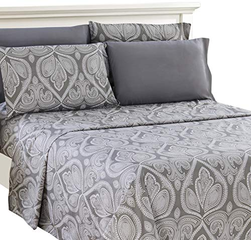 Lux Decor Collection Bed Sheet Set Brushed Microfiber 1800 Bedding Wrinkle Stain And Fade Resistant Hypoallergenic 6 Piece Queen Paisley Grey 0