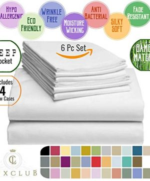 LuxClub 6 PC Sheet Set Bamboo Sheets Deep Pockets 18 Eco Friendly Wrinkle Free Sheets Hypoallergenic Anti Bacteria Machine Washable Hotel Bedding Silky Soft Cream Queen 0 3 300x360