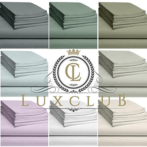 LuxClub 6 PC Sheet Set Bamboo Sheets Deep Pockets 18 Eco Friendly Wrinkle Free Sheets Hypoallergenic Anti Bacteria Machine Washable Hotel Bedding Silky Soft Cream Queen 0 4