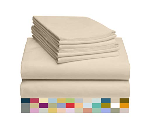 LuxClub 6 PC Sheet Set Bamboo Sheets Deep Pockets 18 Eco Friendly Wrinkle Free Sheets Hypoallergenic Anti Bacteria Machine Washable Hotel Bedding Silky Soft Cream Queen 0