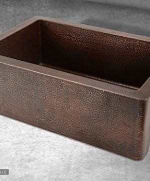 Luxury 33 Inch Copper Farmhouse Kitchen Sink Extra Thick 14 Gauge Pure Solid Copper Artisan Hammered Finish Single Bowl With Flat Front Includes Copper Disposal Flange FSW1100 By Fossil Blu 0 2 300x360