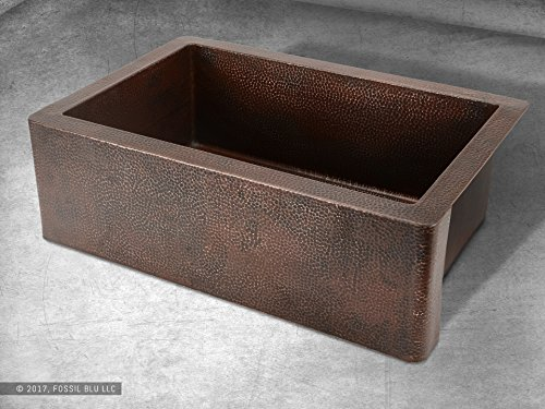 Luxury 33 Inch Copper Farmhouse Kitchen Sink Extra Thick 14 Gauge Pure Solid Copper Artisan Hammered Finish Single Bowl With Flat Front Includes Copper Disposal Flange FSW1100 By Fossil Blu 0 2
