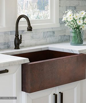 Luxury 33 Inch Copper Farmhouse Kitchen Sink Extra Thick 14 Gauge Pure Solid Copper Artisan Hammered Finish Single Bowl With Flat Front Includes Copper Disposal Flange FSW1100 By Fossil Blu 0 300x360