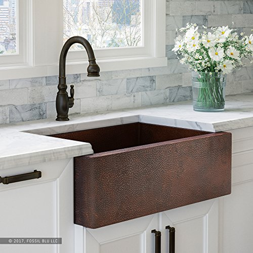 Luxury 33 Inch Copper Farmhouse Kitchen Sink Extra Thick 14 Gauge Pure Solid Copper Artisan Hammered Finish Single Bowl With Flat Front Includes Copper Disposal Flange FSW1100 By Fossil Blu 0
