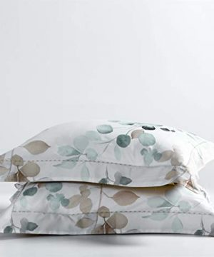 MILDLY White Floral Duvet Cover 3 Pieces Set Leaf Pattern Printed Soft Cotton Comforter Cover With 2 Pillow Shams Queen Size Able 0 2 300x360