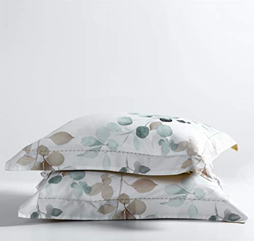 MILDLY White Floral Duvet Cover 3 Pieces Set Leaf Pattern Printed Soft Cotton Comforter Cover With 2 Pillow Shams Queen Size Able 0 2