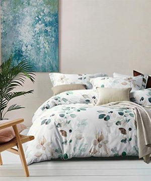 MILDLY White Floral Duvet Cover 3 Pieces Set Leaf Pattern Printed Soft Cotton Comforter Cover With 2 Pillow Shams Queen Size Able 0 300x360