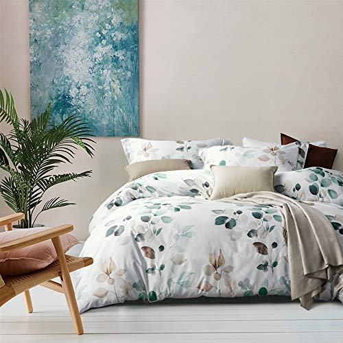 MILDLY White Floral Duvet Cover 3 Pieces Set Leaf Pattern Printed Soft Cotton Comforter Cover With 2 Pillow Shams Queen Size Able 0