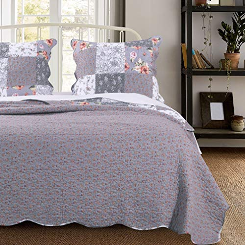 MISC 3 Piece Gray Patchwork Quilt King Size Set Farmhouse Theme Floral Plaid Square Checks Pattern Bedding Oversized And Reversible To Flowers Print 0 0