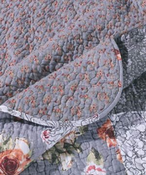 MISC 3 Piece Gray Patchwork Quilt King Size Set Farmhouse Theme Floral Plaid Square Checks Pattern Bedding Oversized And Reversible To Flowers Print 0 1 300x360