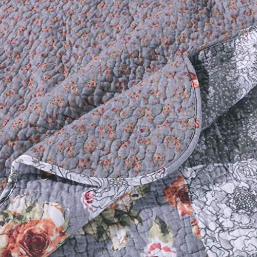 MISC 3 Piece Gray Patchwork Quilt King Size Set Farmhouse Theme Floral Plaid Square Checks Pattern Bedding Oversized And Reversible To Flowers Print 0 1
