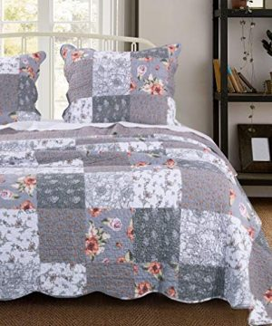 MISC 3 Piece Gray Patchwork Quilt King Size Set Farmhouse Theme Floral Plaid Square Checks Pattern Bedding Oversized And Reversible To Flowers Print 0 300x360