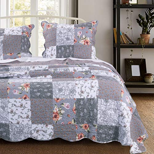 MISC 3 Piece Gray Patchwork Quilt King Size Set Farmhouse Theme Floral Plaid Square Checks Pattern Bedding Oversized And Reversible To Flowers Print 0
