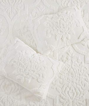 MISC 3 Piece White Tufted Chenille Duvet Cover Set KingCal King Size Textured 3D Damask Pattern Farmhouse Style Bedding Cotton 104x92 0 0 300x360