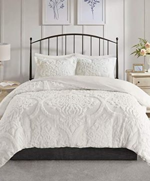 MISC 3 Piece White Tufted Chenille Duvet Cover Set KingCal King Size Textured 3D Damask Pattern Farmhouse Style Bedding Cotton 104x92 0 2 300x360
